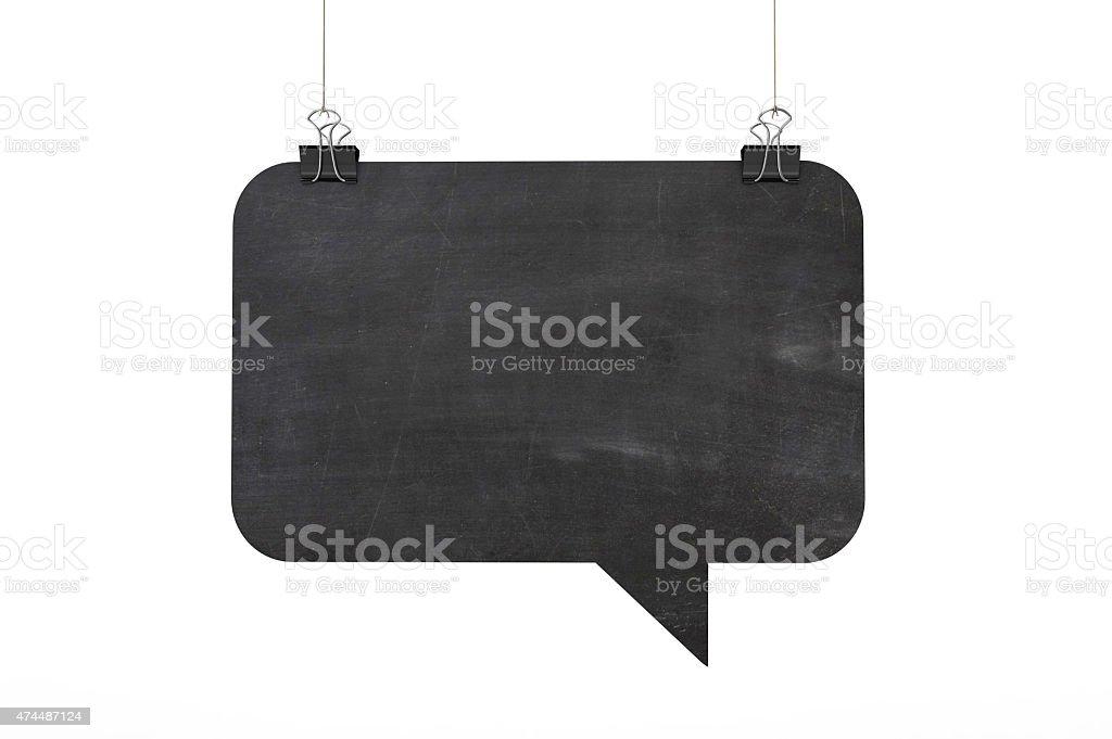 Blackboard speech bubble hanging on string stock photo
