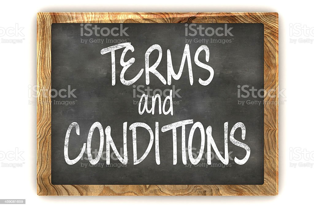 Blackboard Terms and Conditions stock photo
