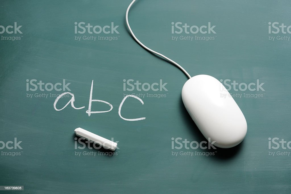 Blackboard with blank computer mouse and chalk writing abc royalty-free stock photo