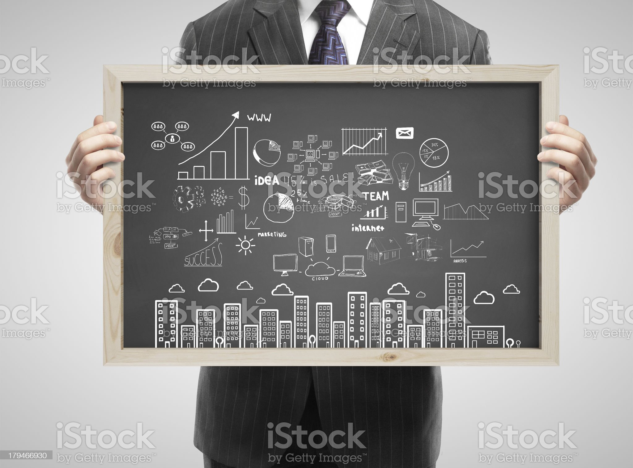 blackboard with business concept royalty-free stock photo