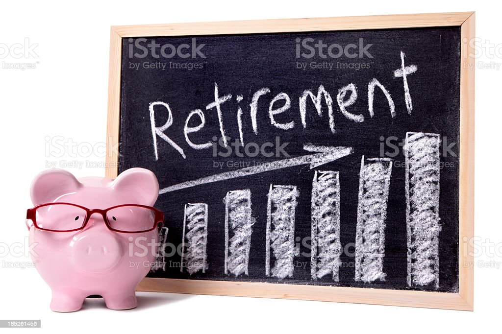 Blackboard with chart and the word Retirement on it  royalty-free stock photo