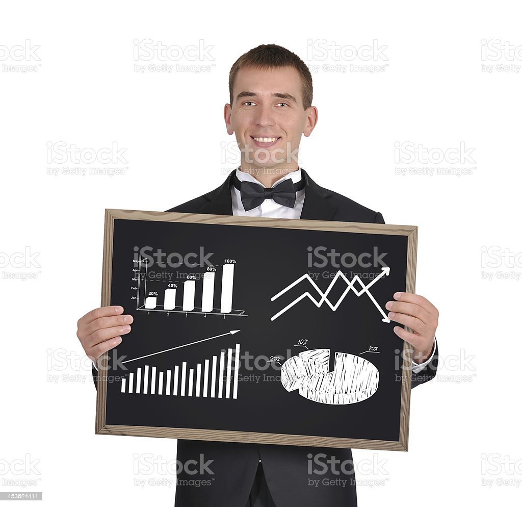 blackboard with chart of profits royalty-free stock photo