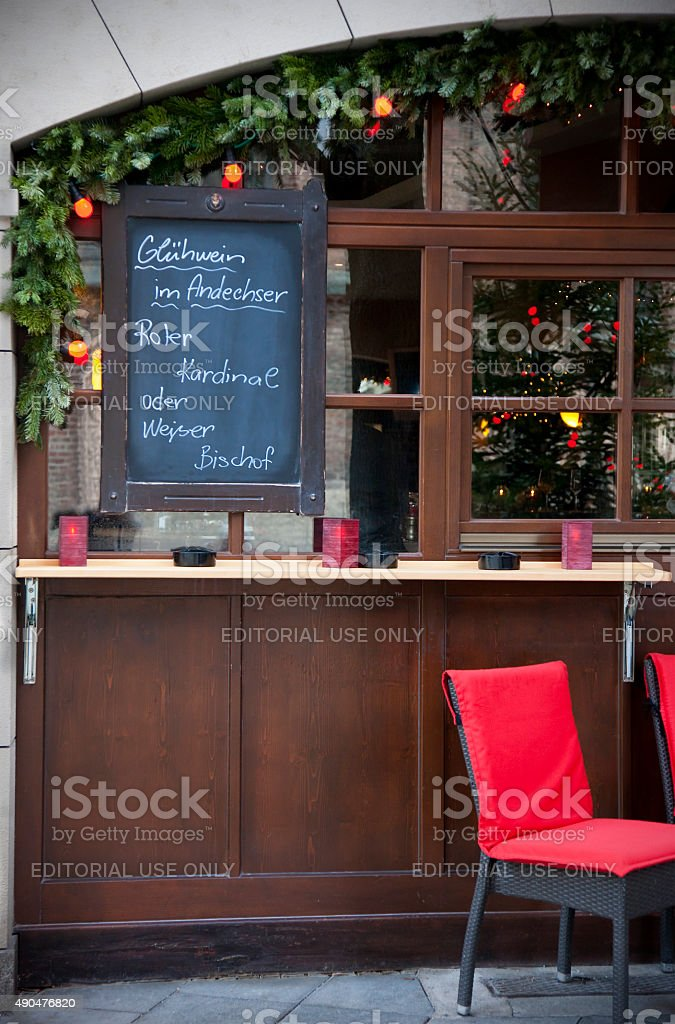 Blackboard with drink list at Christmas time in Germany stock photo