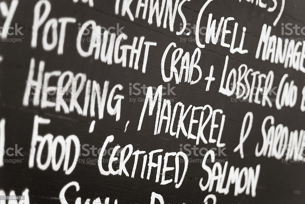 Blackboard with Fish names at the fish market stock photo