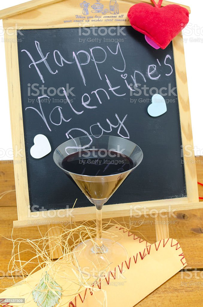 Blackboard with hearts and and a wine glass royalty-free stock photo