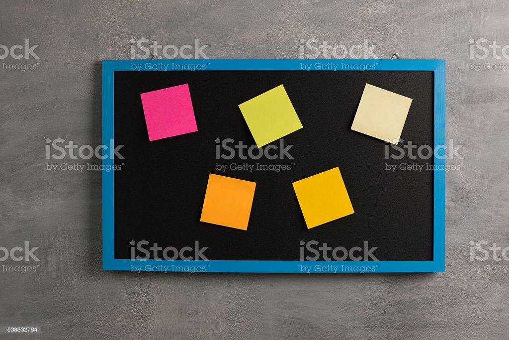 blackboard with Note Paper stock photo