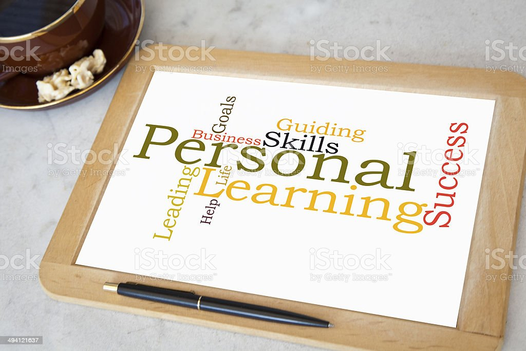 blackboard with personal coaching word cloud stock photo