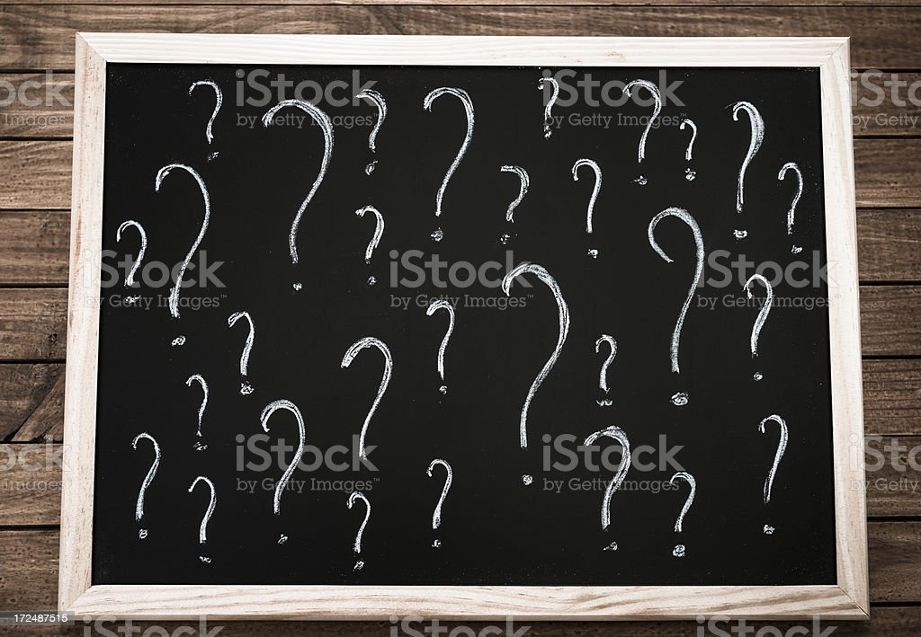 Blackboard with question mark royalty-free stock photo