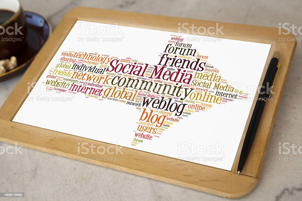 blackboard with social media word cloud royalty-free stock photo