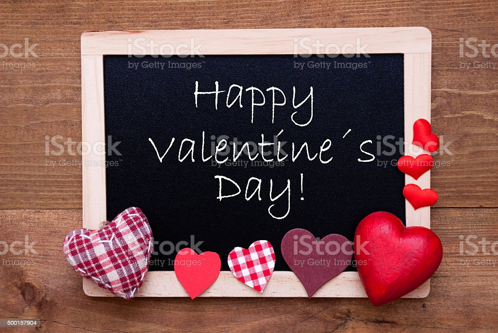 Blackboard With Textile Hearts, Text Happy Valentines Day stock photo