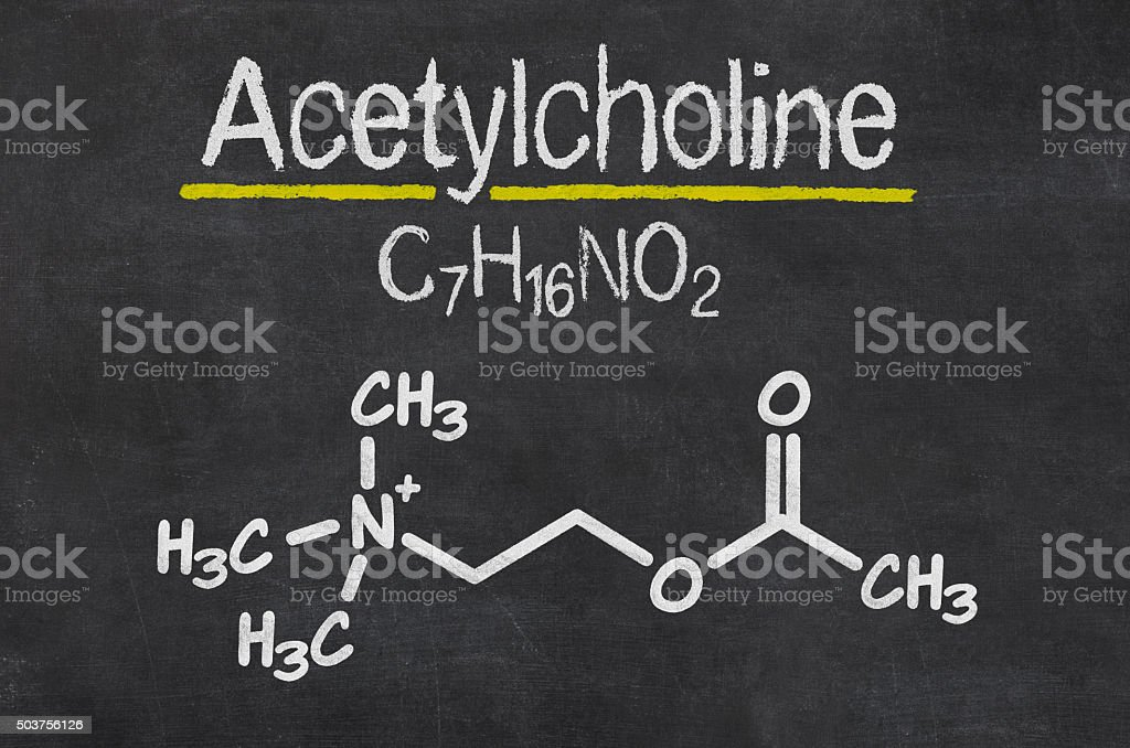 Blackboard with the chemical formula of Acetylcholine stock photo