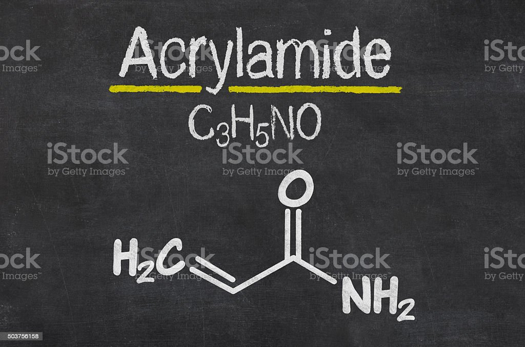Blackboard with the chemical formula of Acrylamide stock photo