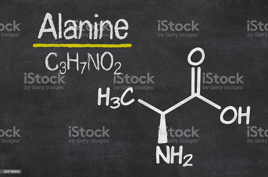 Blackboard with the chemical formula of Alanine stock photo