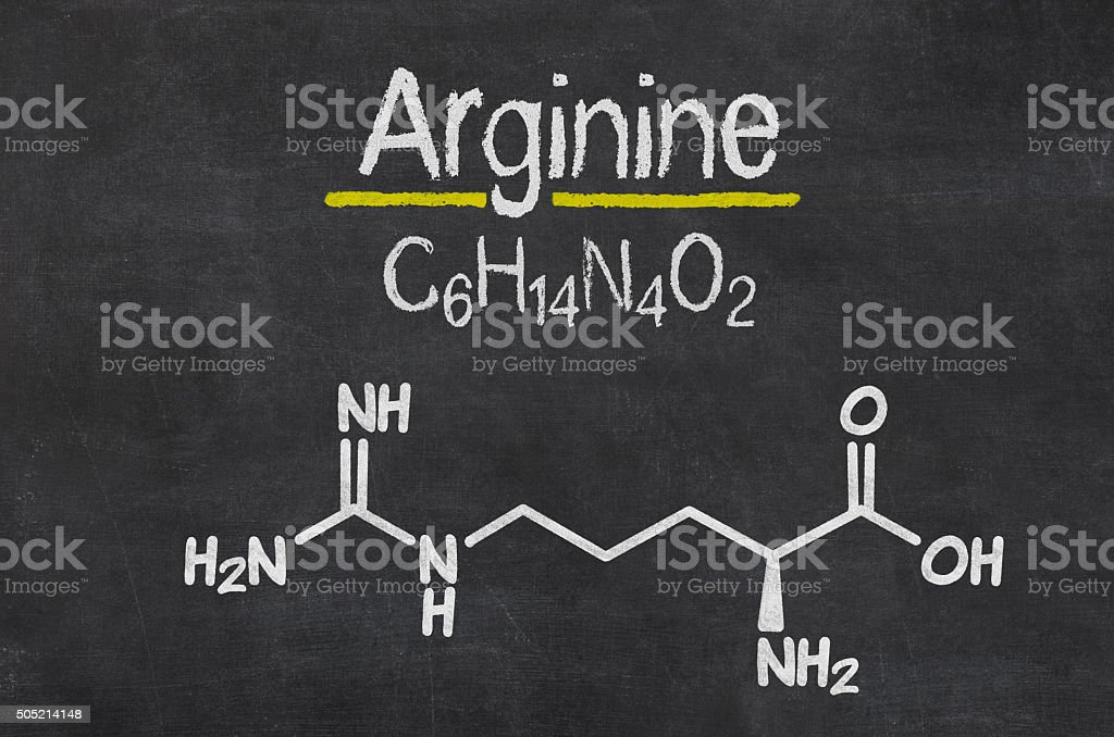 Blackboard with the chemical formula of Arginine stock photo