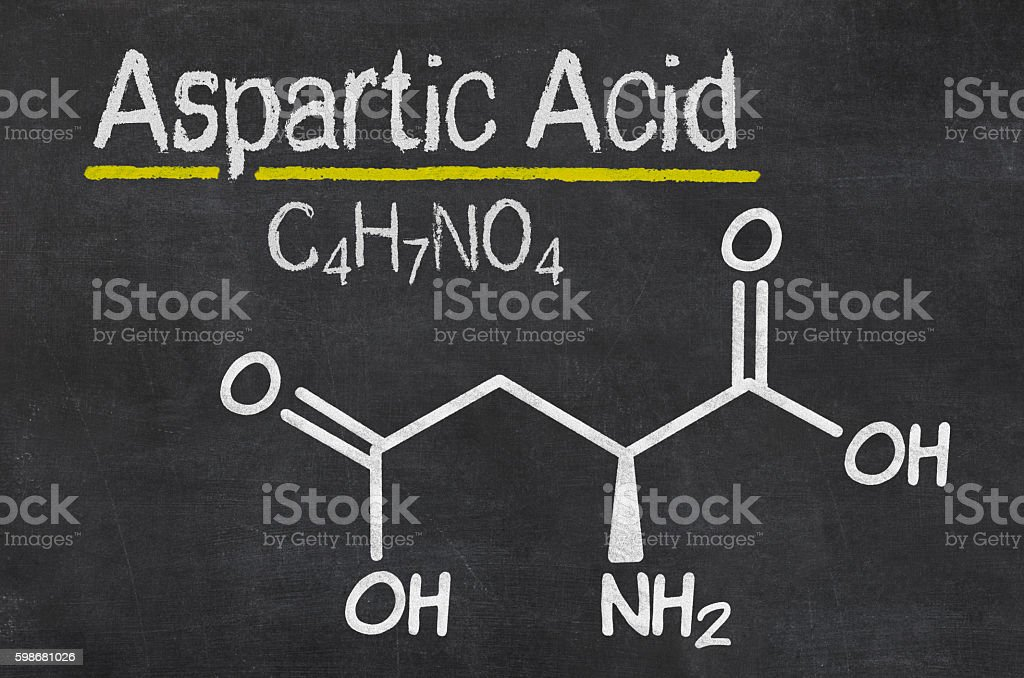 Blackboard with the chemical formula of Aspartic acid stock photo
