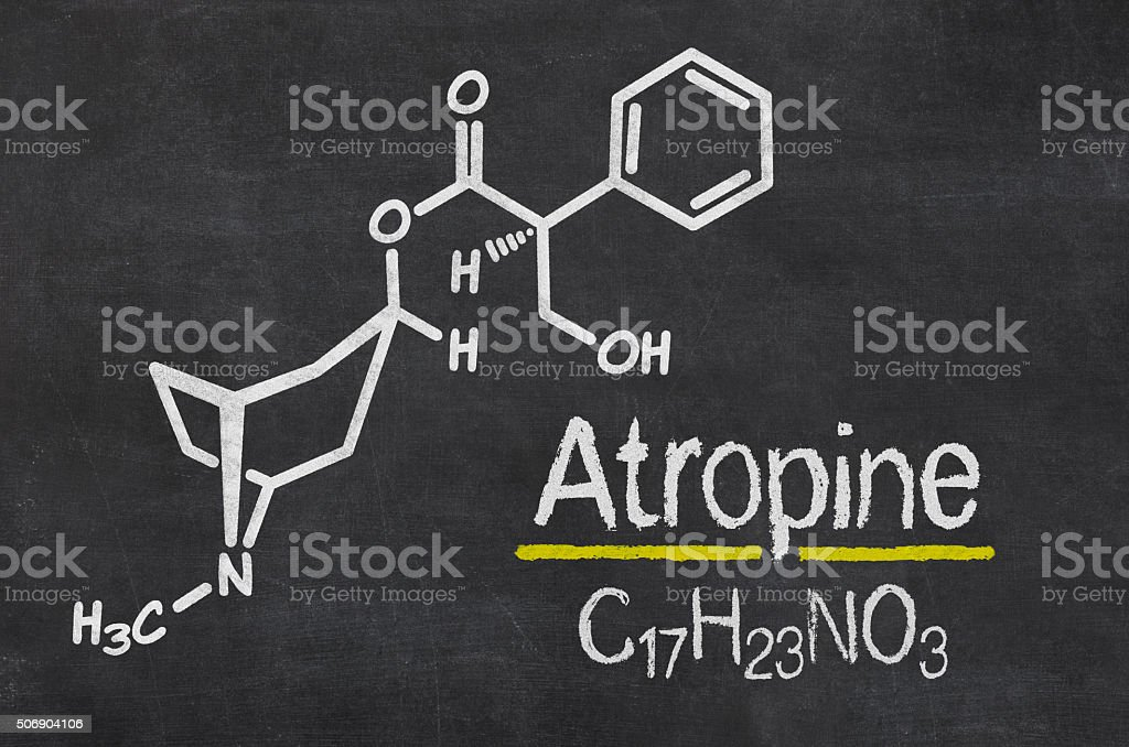 Blackboard with the chemical formula of Atropine stock photo
