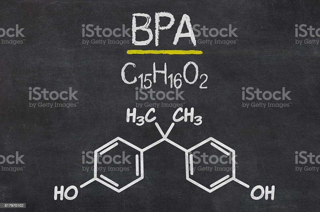 Blackboard with the chemical formula of BPA stock photo