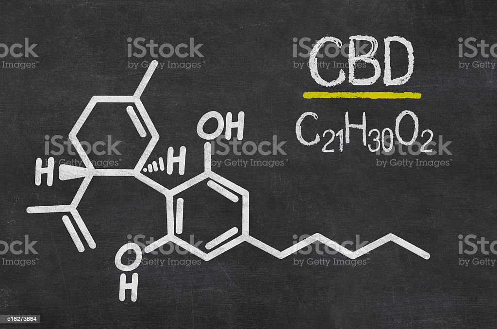Blackboard with the chemical formula of CBD stock photo
