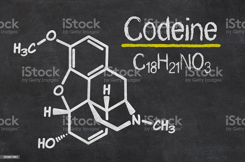 Blackboard with the chemical formula of Codeine stock photo