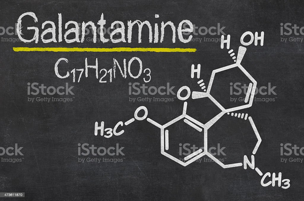 Blackboard with the chemical formula of Galantamine stock photo