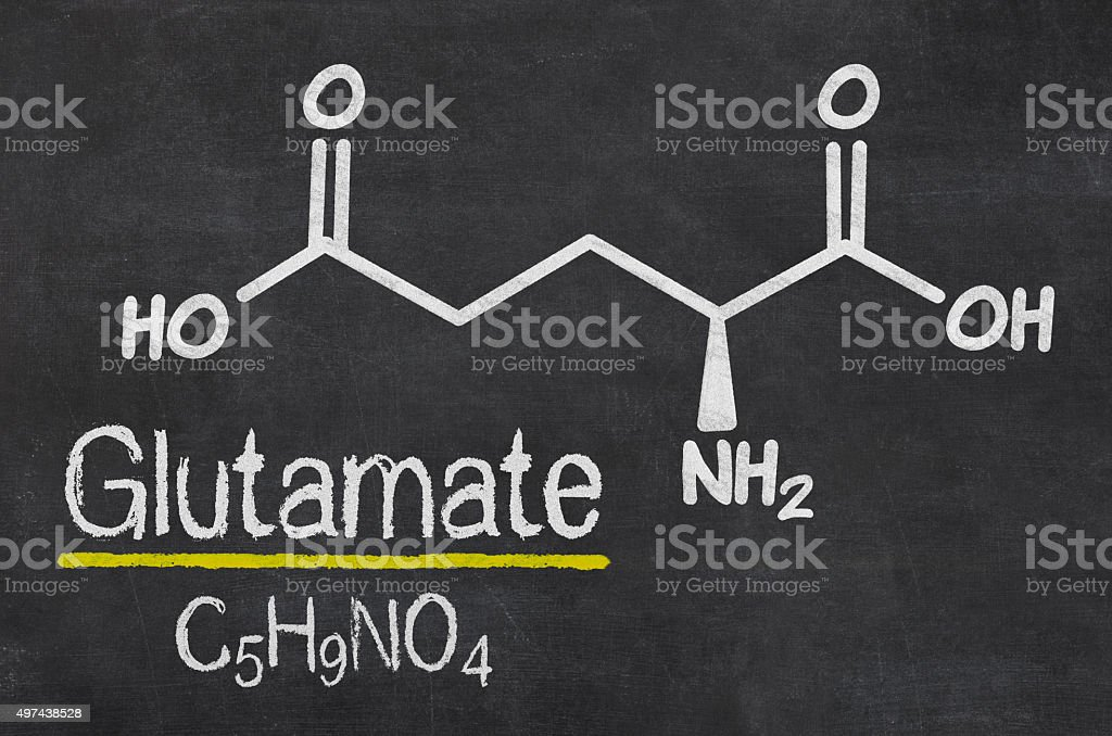 Blackboard with the chemical formula of Glutamate stock photo