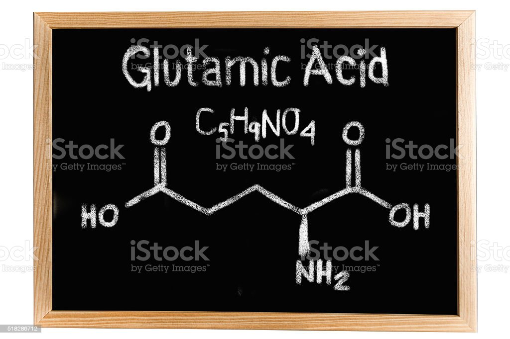 Blackboard with the chemical formula of Glutamic acid stock photo