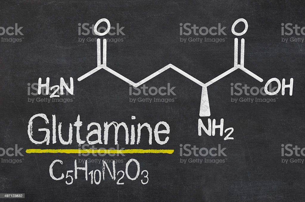 Blackboard with the chemical formula of Glutamine stock photo