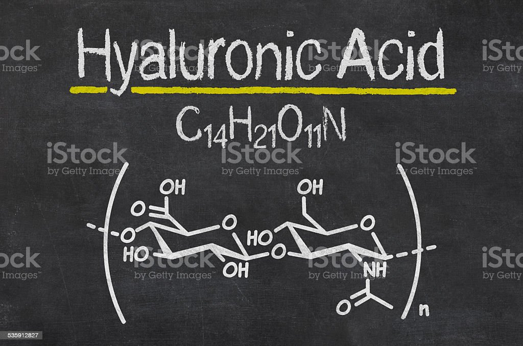 Blackboard with the chemical formula of hyaluronic acid stock photo