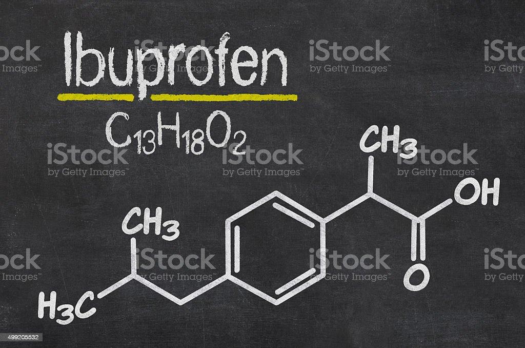 Blackboard with the chemical formula of Ibuprofen stock photo