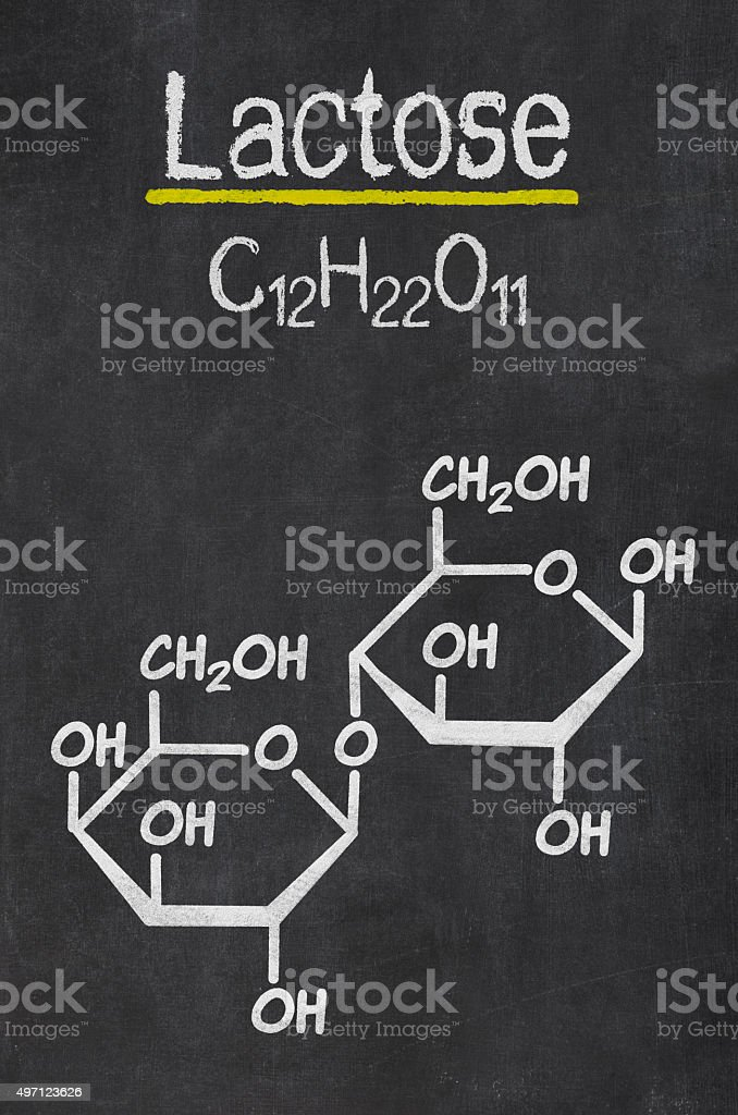 Blackboard with the chemical formula of Lactose stock photo