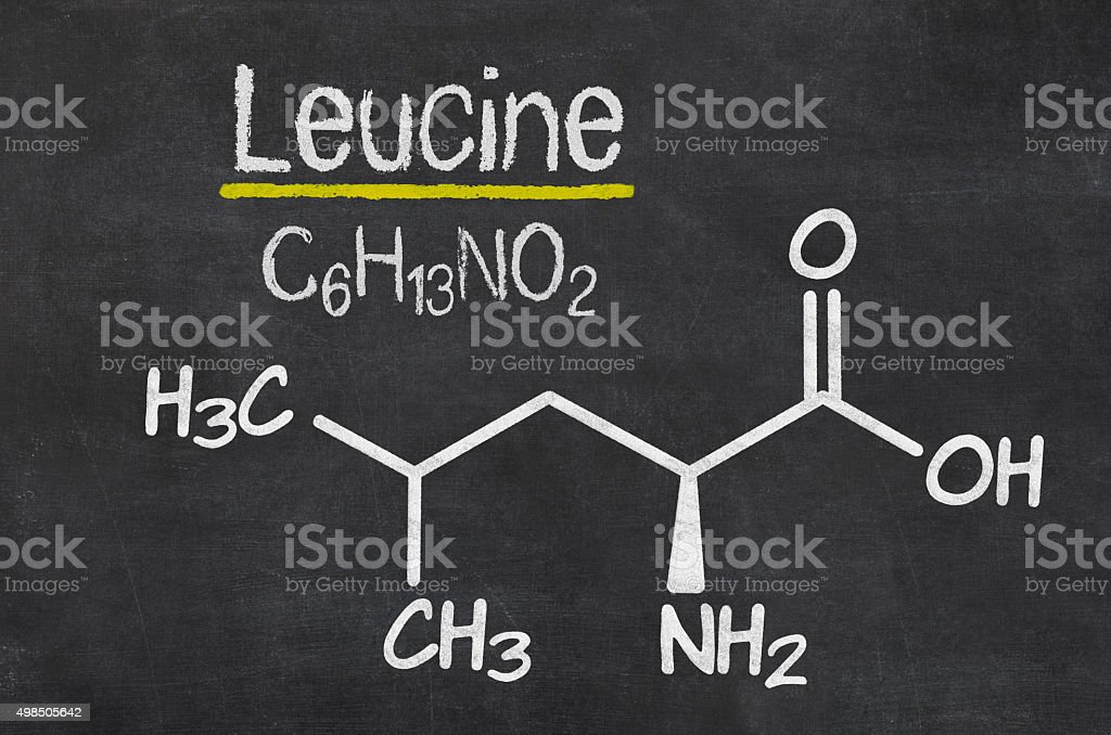 Blackboard with the chemical formula of Leucine stock photo