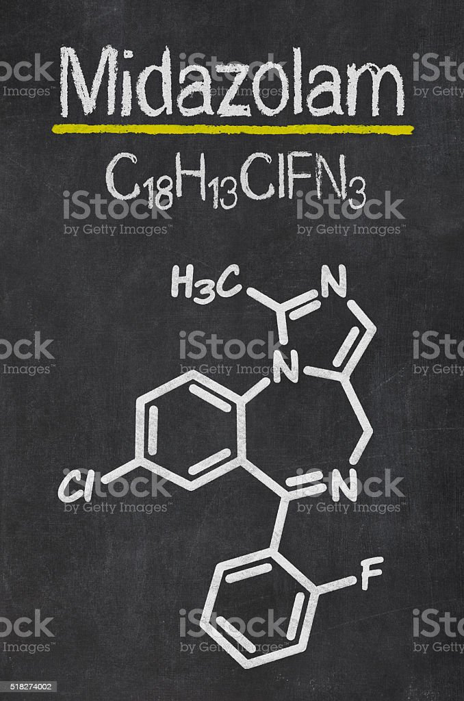 Blackboard with the chemical formula of Midazolam stock photo