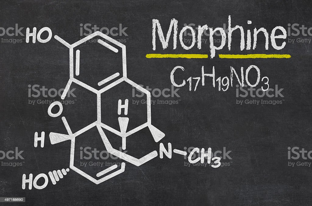 Blackboard with the chemical formula of Morphine stock photo