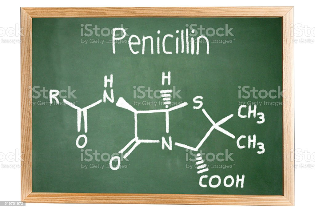 Blackboard with the chemical formula of Penicillin stock photo