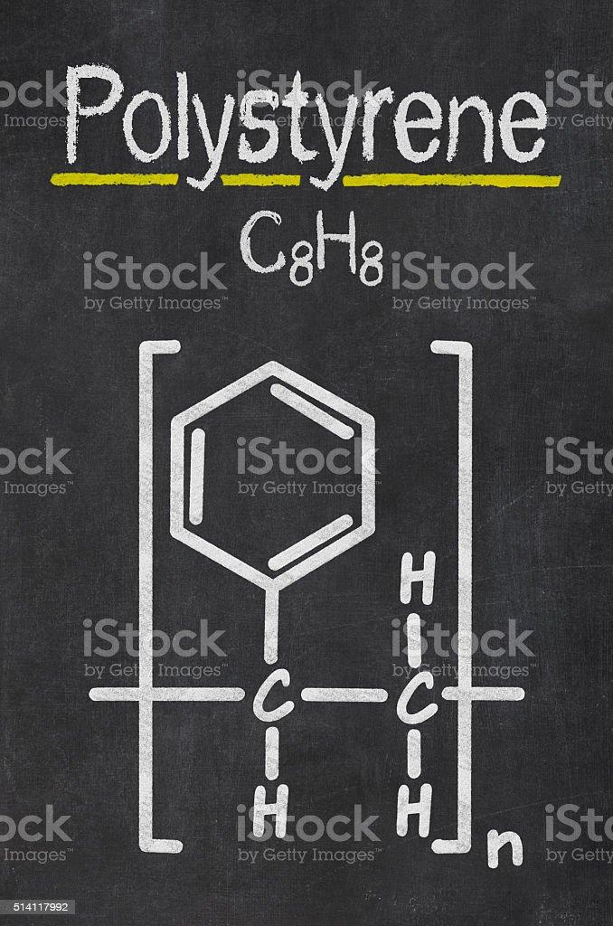Blackboard with the chemical formula of Polystyrene stock photo