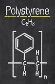 Blackboard with the chemical formula of Polystyrene