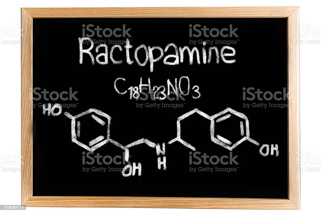Blackboard with the chemical formula of Ractopamine stock photo