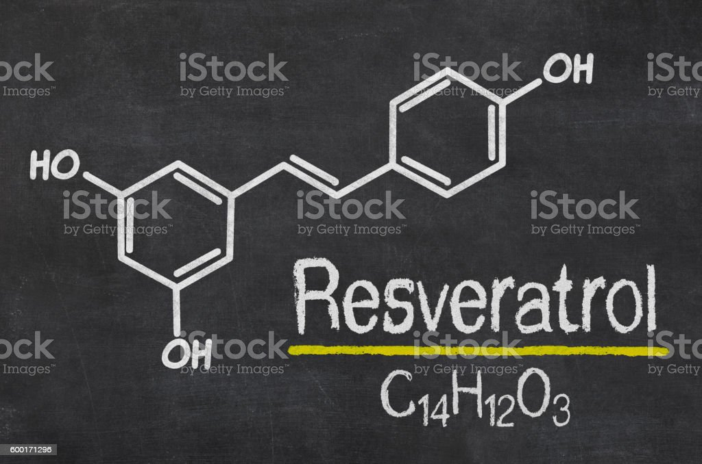 Blackboard with the chemical formula of Resveratrol stock photo
