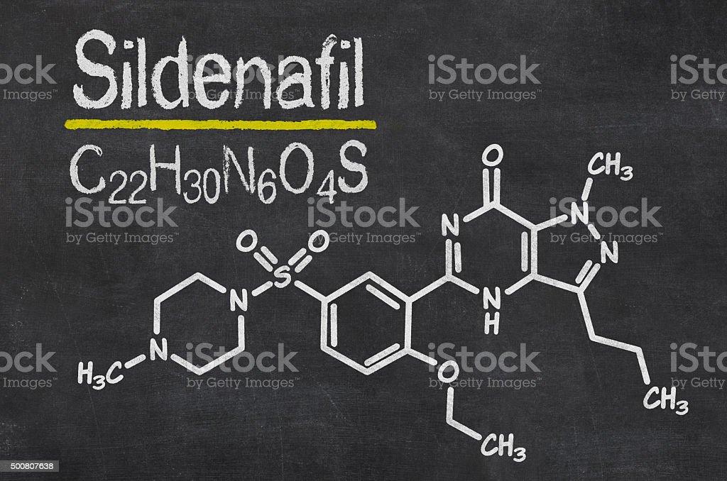 Blackboard with the chemical formula of Sildenafil stock photo