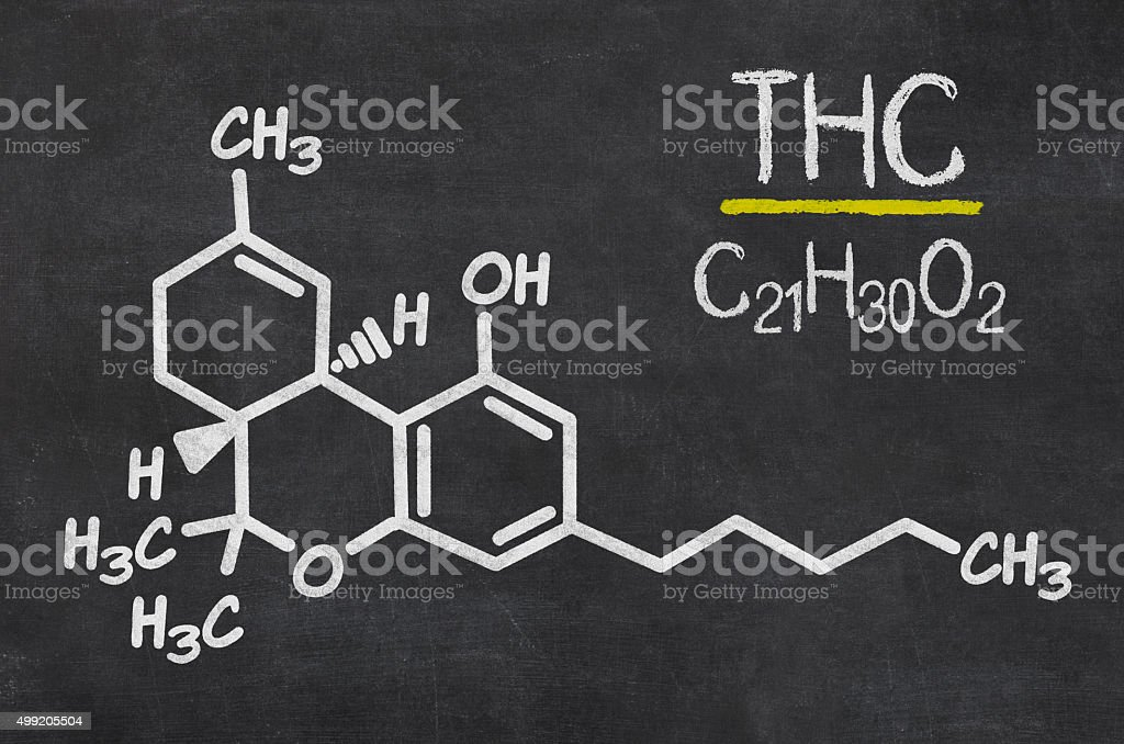 Blackboard with the chemical formula of THC stock photo