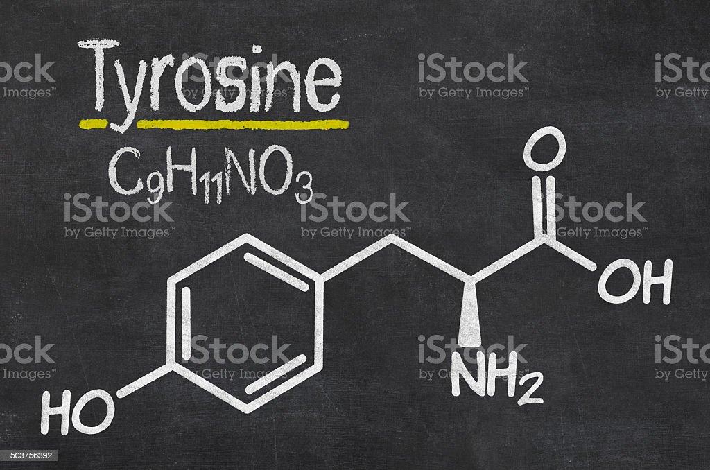 Blackboard with the chemical formula of Thyrosine stock photo