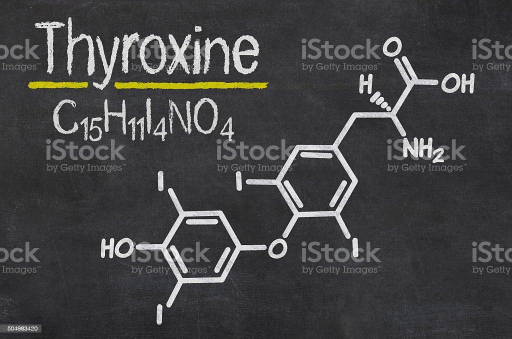 Blackboard with the chemical formula of Thyroxine stock photo