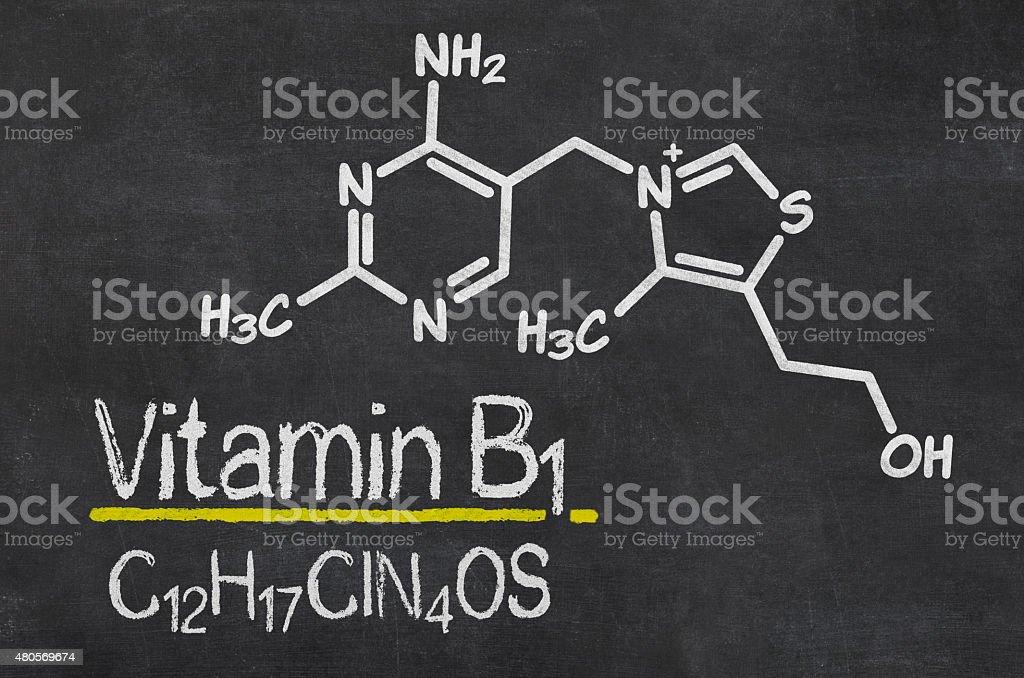 Blackboard with the chemical formula of Vitamin B1 stock photo