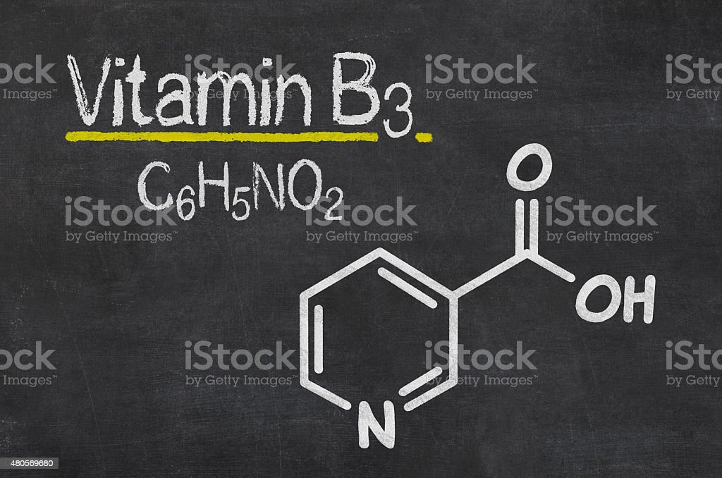 Blackboard with the chemical formula of Vitamin B3 vector art illustration