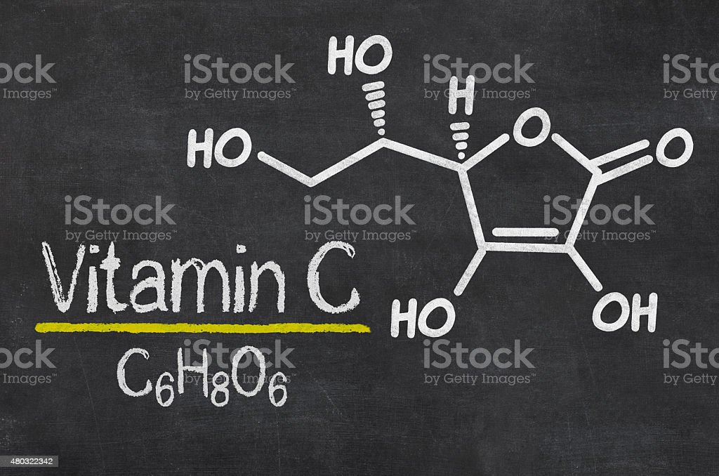 Blackboard with the chemical formula of Vitamin C stock photo