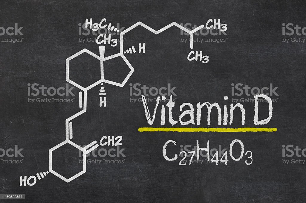 Blackboard with the chemical formula of Vitamin D vector art illustration