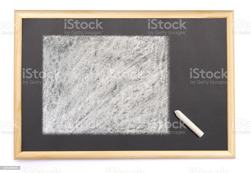 Blackboard with the shape of Wyoming drawn onto. stock photo