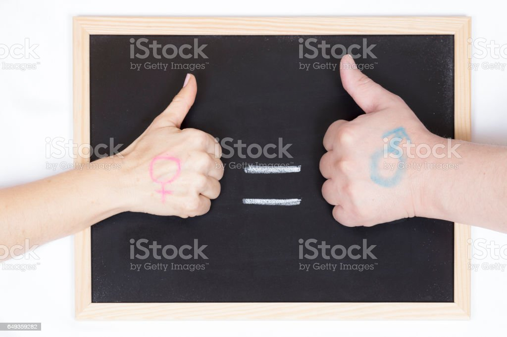 Blackboard with the symbol of equality stock photo