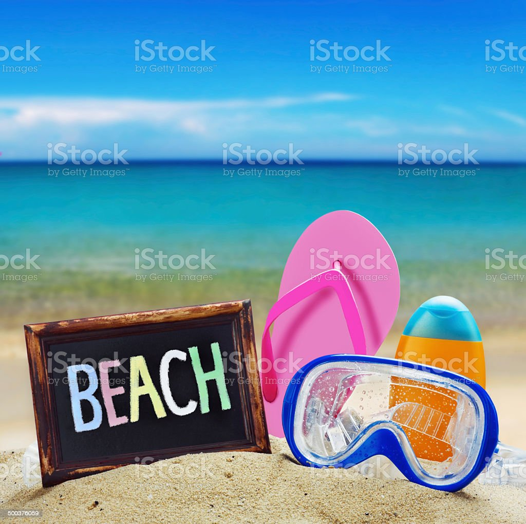 blackboard with the words beach stock photo