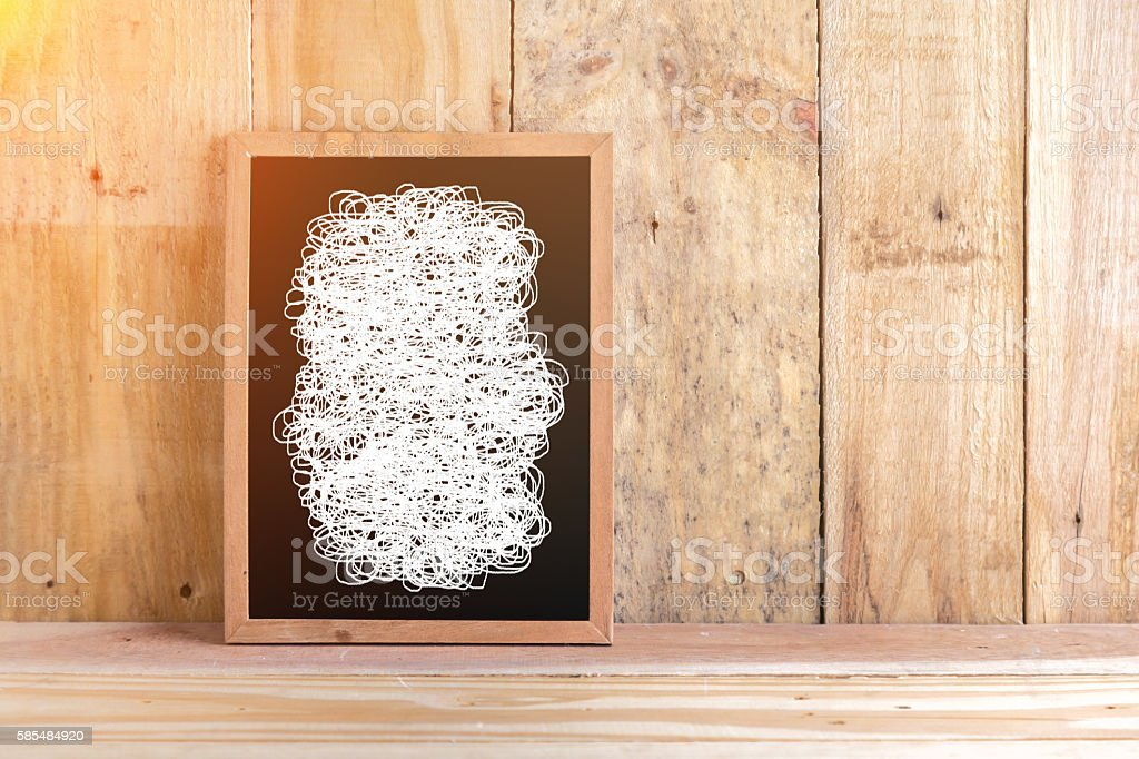 blackboard with white drawing line with wooden floor stock photo